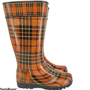 Sperry Top Sider Plaid Red Black Rain Boots 7